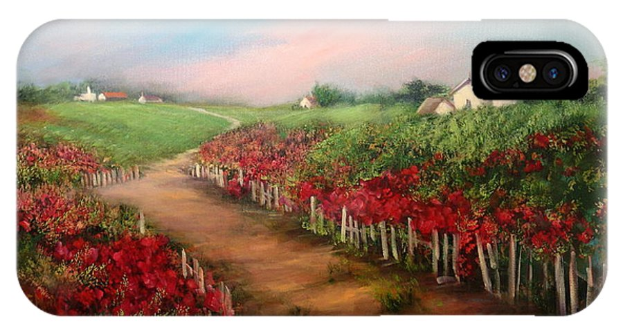 Flowers IPhone X Case featuring the painting A Country Lane by Sally Seago