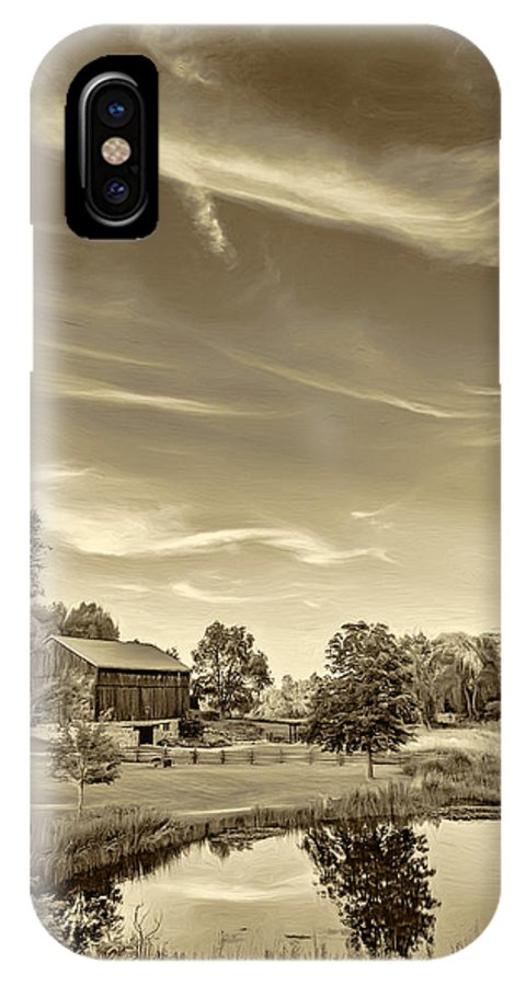 Pond IPhone X Case featuring the photograph A Country Place 3 - Sepia by Steve Harrington