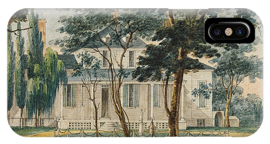 Pavel Petrovich Svinin A Country Residence Possibly General Moreau's Country House At Morrisville Pennsylvania IPhone X Case featuring the painting A Country Residence Possibly General Moreau's Country House At Morrisville Pennsylvania by Pavel Petrovich Svinin