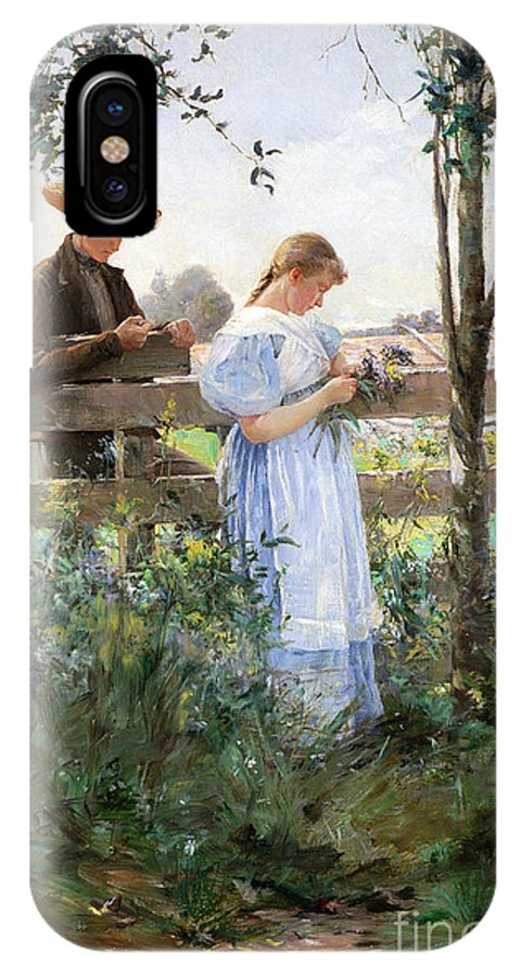 A Country Romance (oil On Canvas) By David B. Walkley (1849-1934) IPhone X Case featuring the painting A Country Romance by David B Walkley
