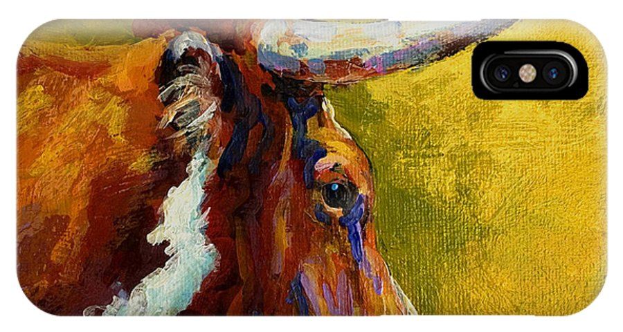 Western IPhone X Case featuring the painting A Couple Of Pointers - Longhorn Steer by Marion Rose
