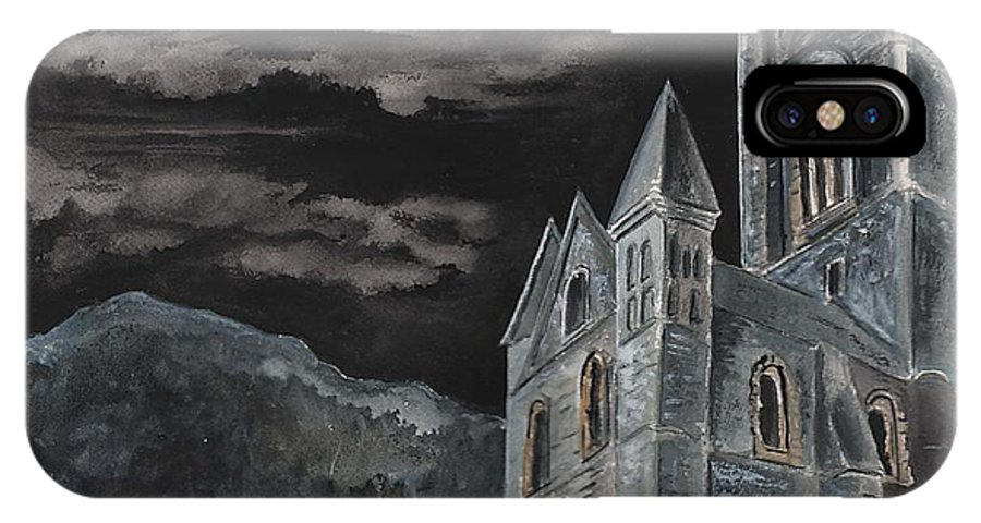 Landscape Gothic House Castle Church Dark Sky Watercolor IPhone X Case featuring the painting A Dark Strange Night by Brenda Owen