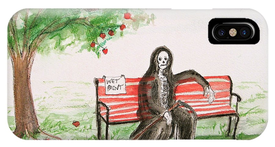 Darkestartist Day Death Holiday Humor Ink Off Paint Park Watercolor Watercolour IPhone X Case featuring the painting A Day at the Park by Darkest Artist