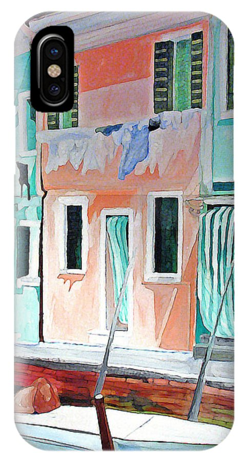 Italy IPhone X Case featuring the painting A Day In Burrano by Patricia Arroyo