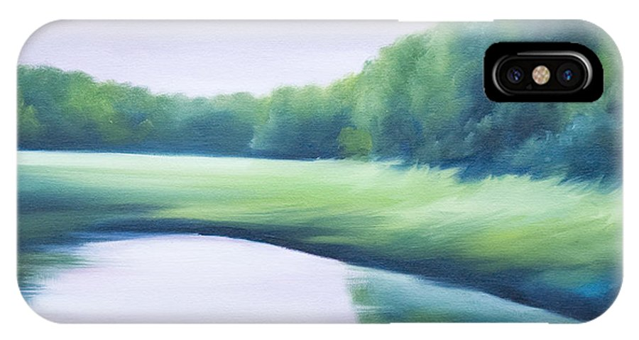 Nature; Lake; Sunset; Sunrise; Serene; Forest; Trees; Water; Ripples; Clearing; Lagoon; James Christopher Hill; Jameshillgallery.com; Foliage; Sky; Realism; Oils; Green; Tree; Blue; Pink; Pond; Lake IPhone X Case featuring the painting A Day In The Life 1 by James Christopher Hill
