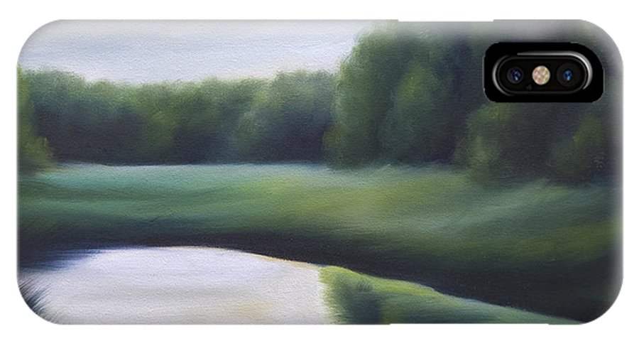 Nature; Lake; Sunset; Sunrise; Serene; Forest; Trees; Water; Ripples; Clearing; Lagoon; James Christopher Hill; Jameshillgallery.com; Foliage; Sky; Realism; Oils; Green; Tree IPhone X Case featuring the painting A Day In The Life 3 by James Christopher Hill