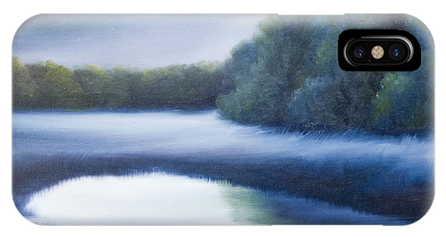 Nature; Lake; Sunset; Sunrise; Serene; Forest; Trees; Water; Ripples; Clearing; Lagoon; James Christopher Hill; Jameshillgallery.com; Foliage; Sky; Realism; Oils; Green; Tree; Blue; Pink; Pond; Lake IPhone X Case featuring the painting A Day In The Life 4 by James Christopher Hill