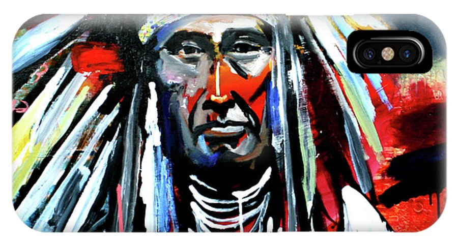 Chief IPhone X Case featuring the painting A Decorated Chief 1 by Scott Dykema