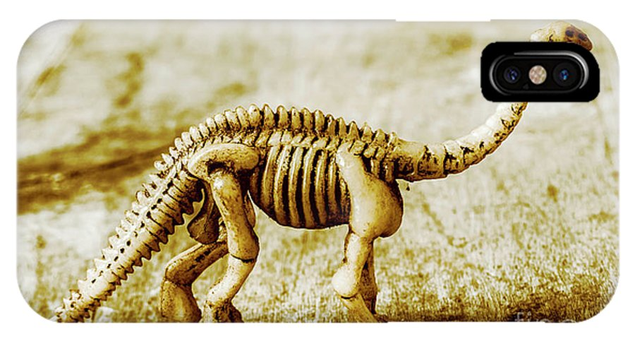 Bone IPhone X Case featuring the photograph A Diploducus Bone Display by Jorgo Photography - Wall Art Gallery