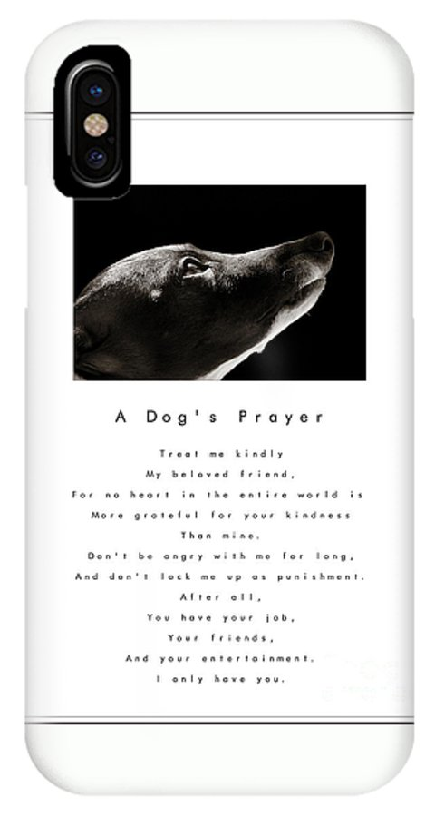 A Dogs Prayer IPhone X Case featuring the photograph A Dog's Prayer In White A Popular Inspirational Portrait And Poem Featuring An Italian Greyhound by Angela Rath