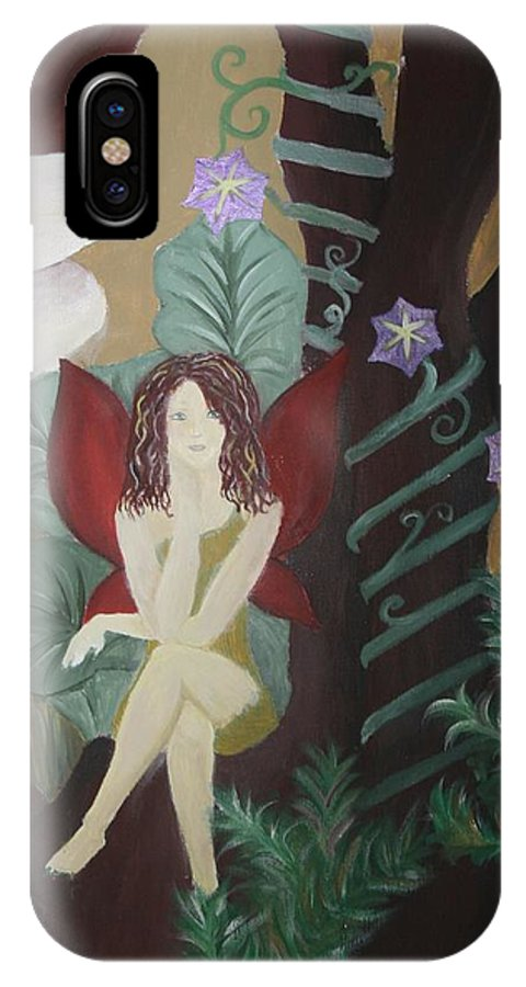 Fairy IPhone X Case featuring the painting A Fairy's Sigh by Joanna Aud