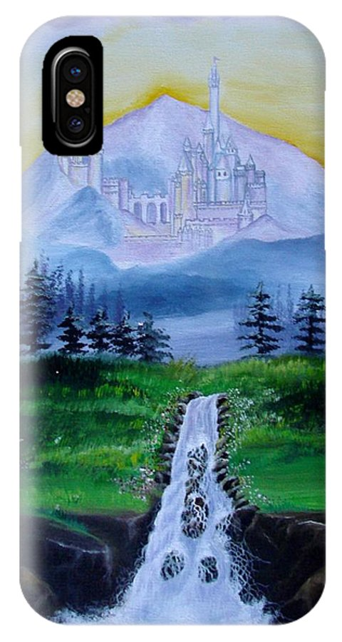 Landscape IPhone X Case featuring the painting A Fairytale by Glory Fraulein Wolfe