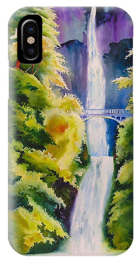 Waterfall IPhone X Case featuring the painting A Favorite Place by Karen Stark