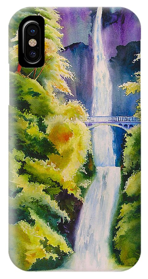 Waterfall IPhone X / XS Case featuring the painting A Favorite Place by Karen Stark