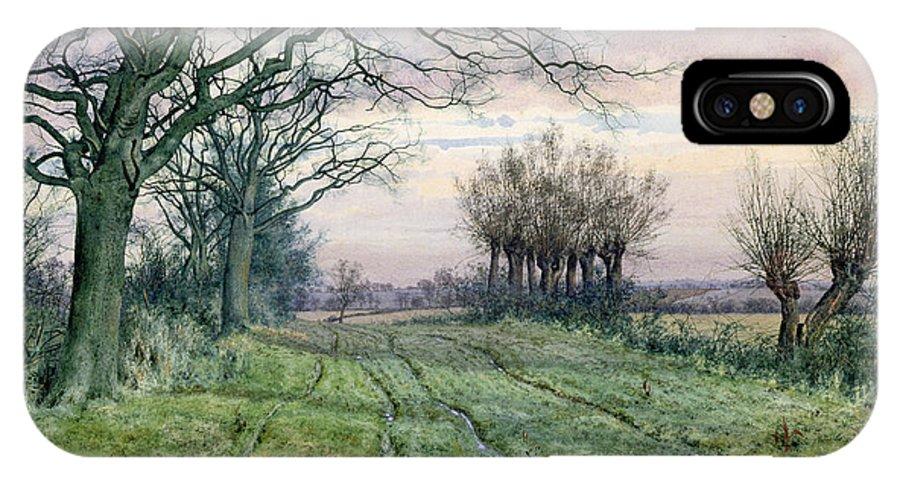 Fenland IPhone X Case featuring the painting A Fenland Lane With Pollarded Willows by William Fraser Garden