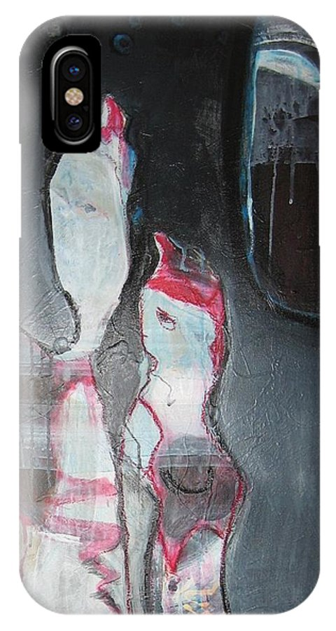 Abstract Paintings IPhone X Case featuring the painting A Flase Rumor by Seon-Jeong Kim
