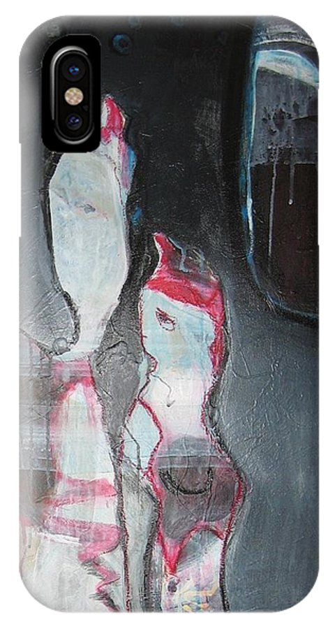 Abstract Paintings IPhone X / XS Case featuring the painting A Flase Rumor by Seon-Jeong Kim