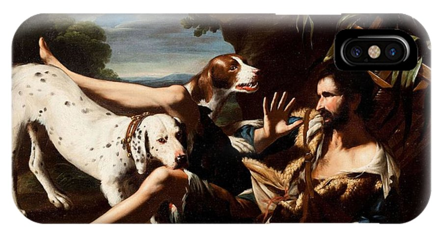 Pseudo Salini (active In Rome Mid-xviith) IPhone X Case featuring the painting A Flask-bearer Surprised By Two Dogs In A Landscape by MotionAge Designs