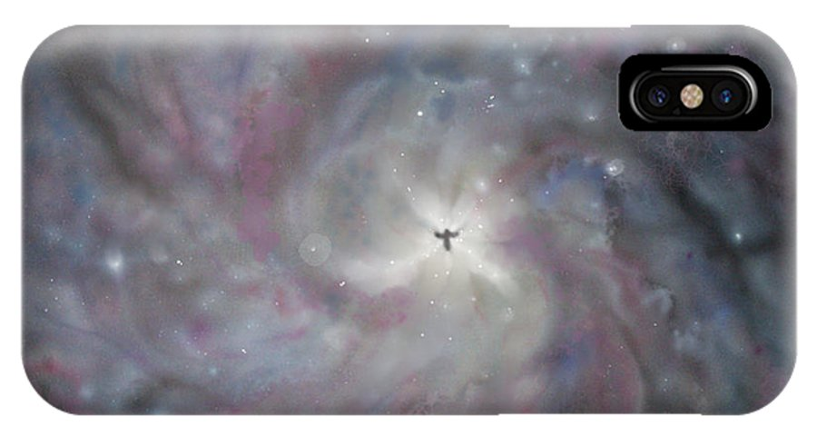 Space IPhone Case featuring the painting A Galaxy Centre by Mike Moss