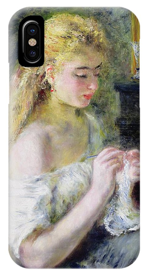 Pierre Auguste Renoir IPhone X Case featuring the painting A Girl Crocheting by Pierre Auguste Renoir
