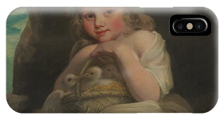 British Painter (ca. 1800) IPhone X / XS Case featuring the painting A Girl With A Basket Of Birds by Celestial Images
