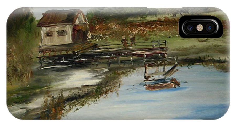 Landscape IPhone X Case featuring the painting A Great Fishing Hole by Edward Wolverton