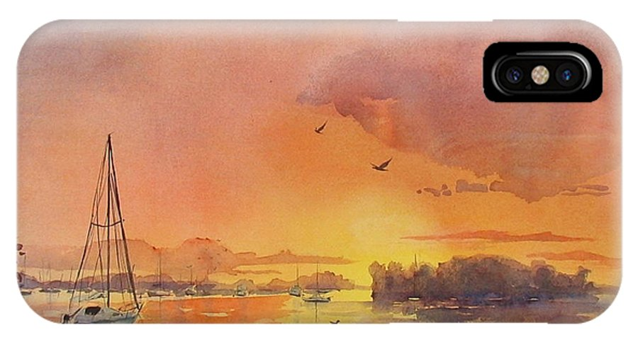 Seascape IPhone Case featuring the painting A Hingham Sunset by Laura Lee Zanghetti