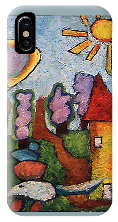 Landscape IPhone X Case featuring the painting A House And A Mouse by Ioulia Sotiriou