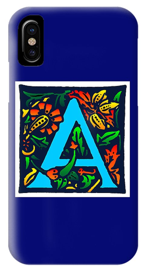 Alphabet IPhone Case featuring the digital art A In Blue by Kathleen Sepulveda