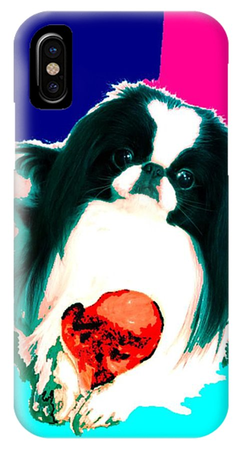 A Japanese Chin And His Toy IPhone Case featuring the digital art A Japanese Chin And His Toy by Kathleen Sepulveda