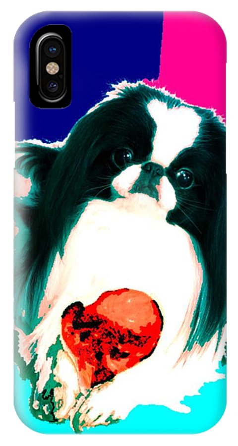 A Japanese Chin And His Toy IPhone X Case featuring the digital art A Japanese Chin And His Toy by Kathleen Sepulveda