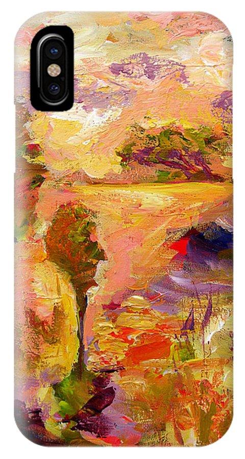 Colorful Canvas Prints IPhone X Case featuring the painting A Joyous Landscape by Julianne Felton