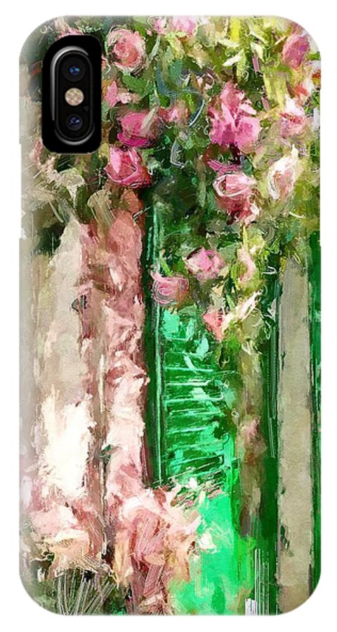 Street IPhone X Case featuring the digital art A Little Cozy Street With Roses by Tanya Gordeeva