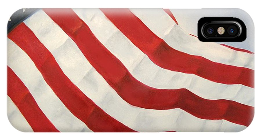 Flag IPhone X Case featuring the painting A Little Glory by Carol Sweetwood