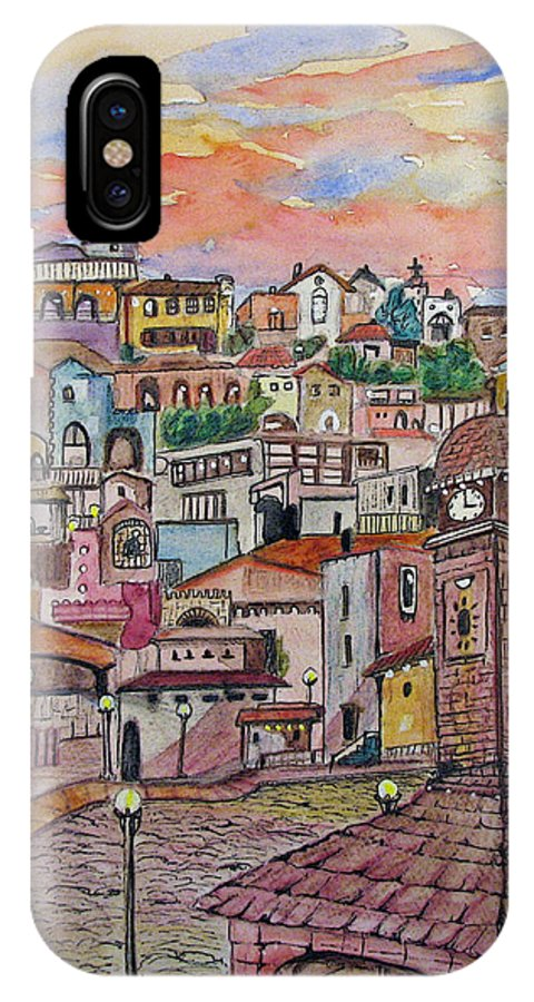 Townscape IPhone X Case featuring the painting A Little Town In France by Patricia Arroyo
