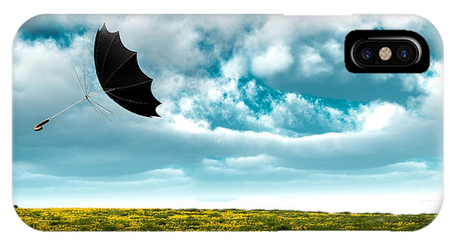 Umbrella IPhone X Case featuring the photograph A Little Windy by Bob Orsillo