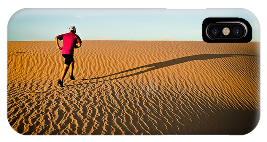 Running IPhone X Case featuring the photograph A Long Desert Run by Scott Sawyer