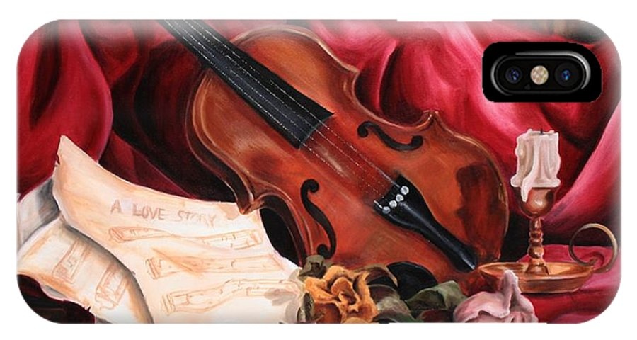 Violin IPhone X / XS Case featuring the painting A Love Story by Maryn Crawford