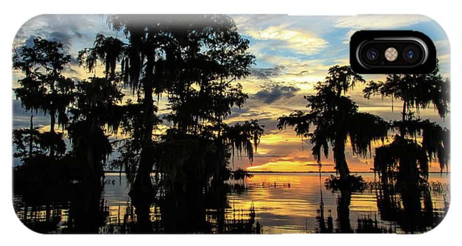 Blue Cypress Lake IPhone X Case featuring the photograph A Moment Of Zen by Stefan Mazzola