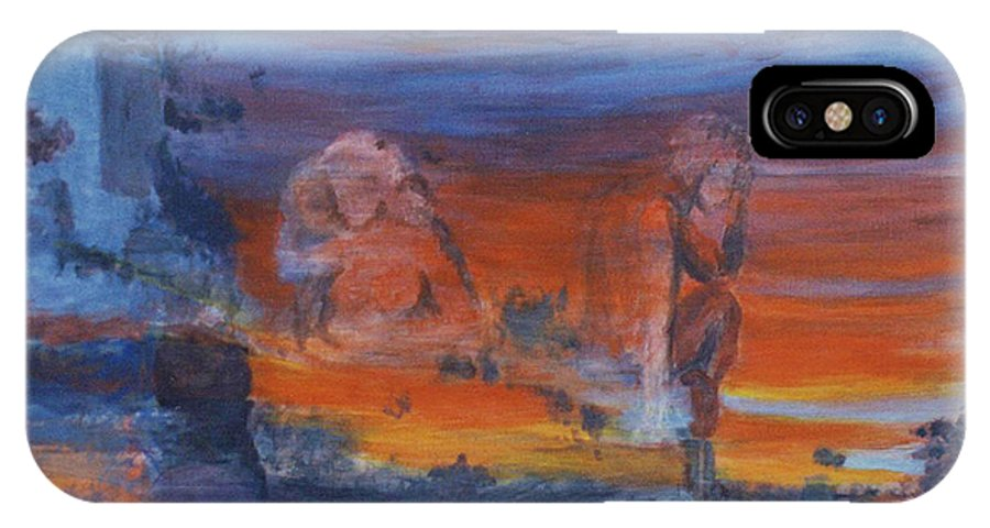 Abstract IPhone X Case featuring the painting A Mystery Of Gods by Steve Karol