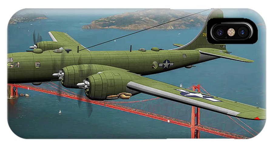 Boeing B-29 Superfortress IPhone X Case featuring the digital art A New Kind Of Bird Over California - Oil by Tommy Anderson