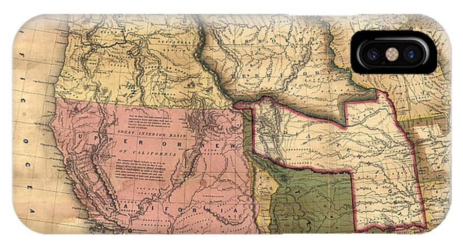 New Map Of Texas.A New Map Of Texas Oregon And California With The Regions Adjoining 1846 Iphone X Case