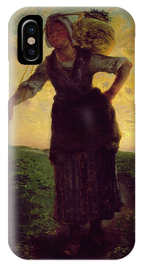 Barbizon School IPhone X Case featuring the painting A Norman Milkmaid At Greville by Jean-Francois Millet