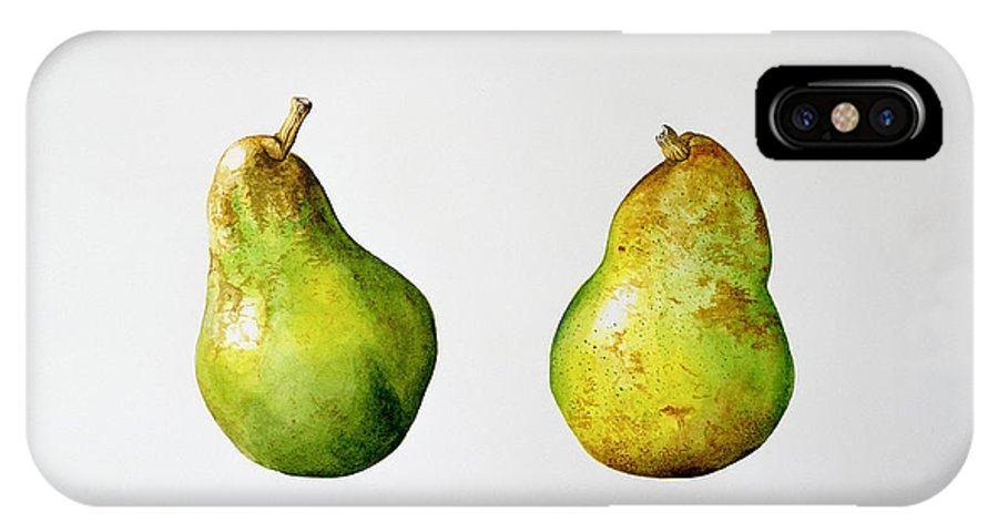 Fruit IPhone X Case featuring the painting A Pair Of Pears by Alison Cooper