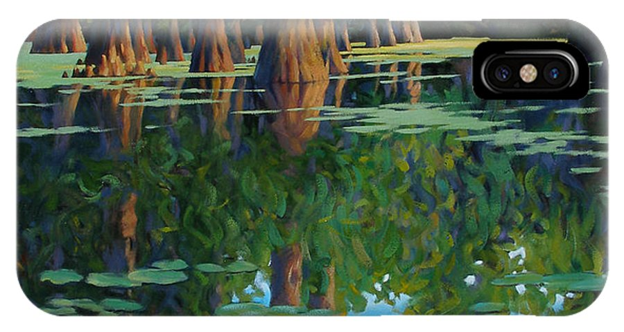 Swamp IPhone Case featuring the painting A Patch Of Blue by Kevin Lawrence Leveque