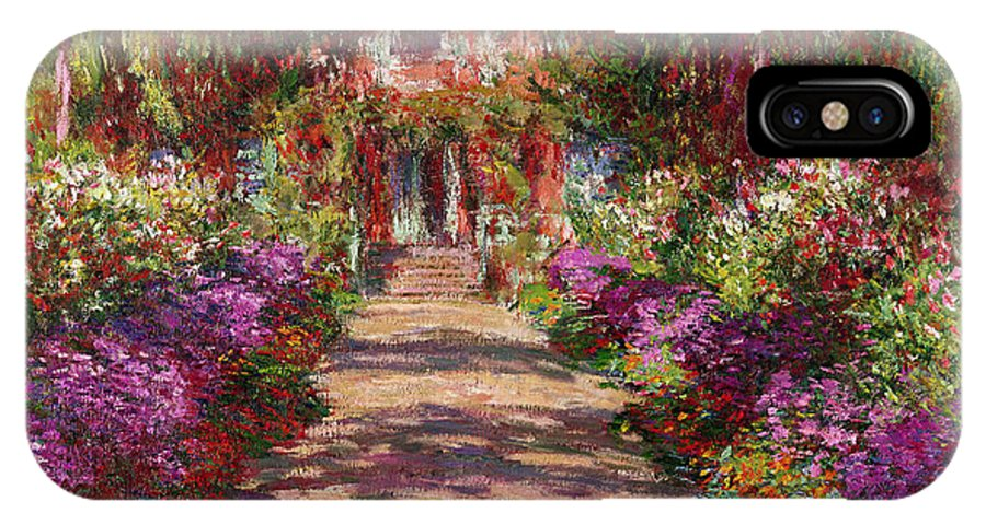 Pathway IPhone X Case featuring the painting A Pathway In Monets Garden Giverny by Claude Monet