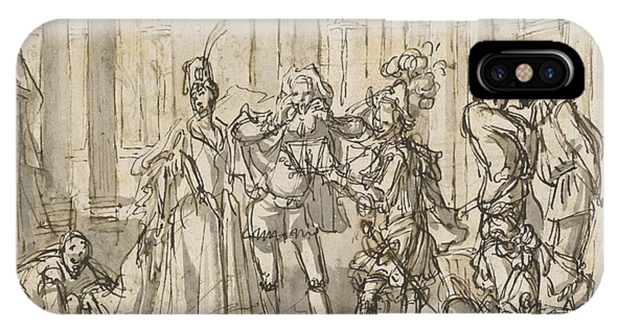 IPhone X Case featuring the drawing A Performance By The Commedia Dell'arte by Claude Gillot