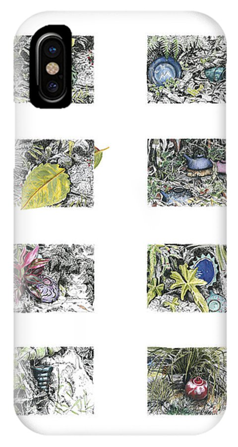 Tropical IPhone X Case featuring the drawing A Potters Garden by Kerryn Madsen-Pietsch