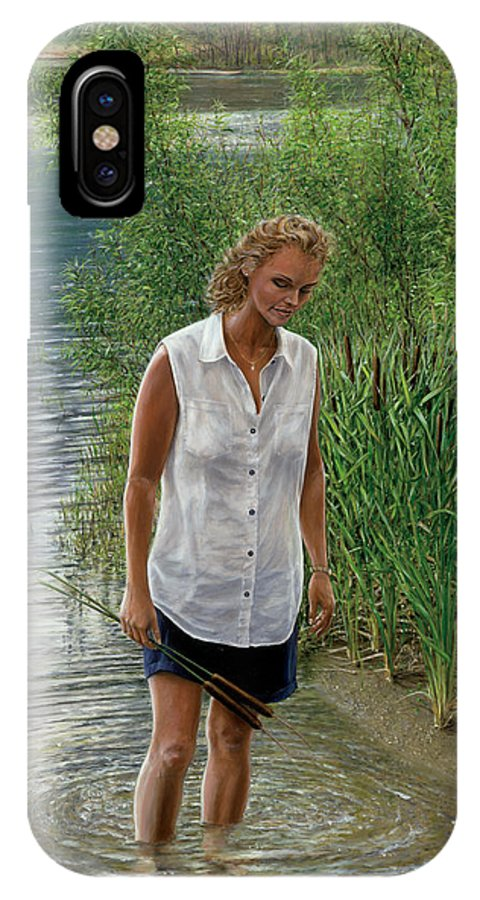 Woman IPhone X Case featuring the painting A Quiet Place by Doug Kreuger