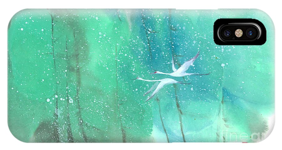 This Is A Contemporary Chinese Ink And Color On Rice Paper Painting With Simple Zen Style Brush Strokes. A Pair Of Graceful Cranes Flying In The Snowy Forest. IPhone X Case featuring the painting A Quiet Song by Mui-Joo Wee